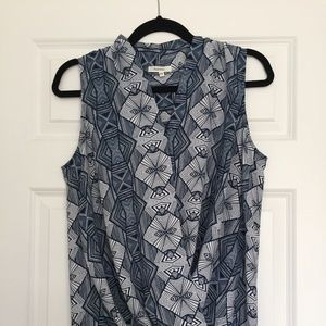 Pleione Blue Geometric Blouse